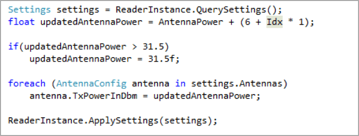 Antenna settings for the Tag Encoding App