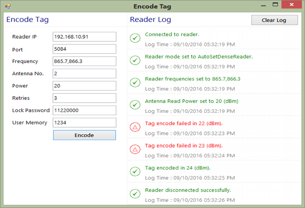 User Interface for RFID4U Tag Encoding Application in Dense Reader Environment