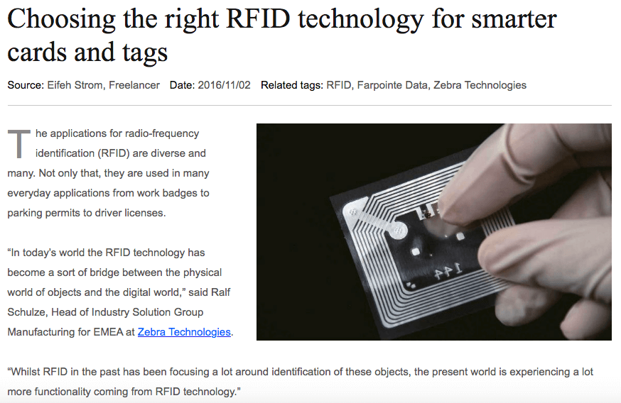 Choosing the right RFID technology for smarter tags and cards, contribution by RFID4U